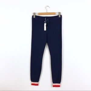 SOLD SUNDRY Navy Blue Striped Cuff Soft Sweatpants